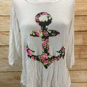 CXO Hooded Shirt Large Floral Anchor XS RARE